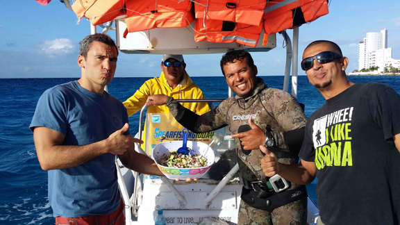 fresh ceviche spearfishing cozumel