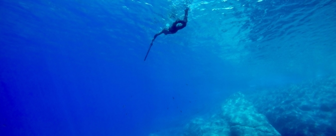 Spearfishing in deep water cover
